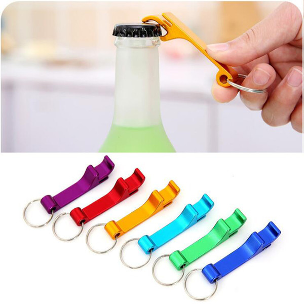 top popular 2 in 1 Metal Bottle Opener Keychain Creative Portable Aluminum Alloy Can Tin Beer Beverage Openers Tool Keyring Key Chain Gift Keyfob 2019