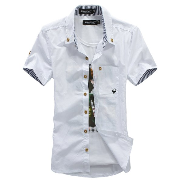 Wholesale-The new summer Style men's shirt style dress embroidered stripes hit color mushroom cultivating short-sleeved The Fashion Design