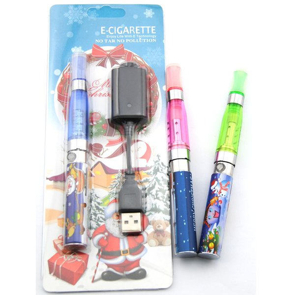 E cig for Christmas CE4 atomizer with Xmas EGO-t 510 thread battery christmas tree gift package electronic cigarette vape pen