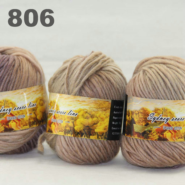 best selling colorful hand-knitted wool line segment dyed coarse lines fancy knitting hats scarves thick line Dark Brown Sand Beige 522-806