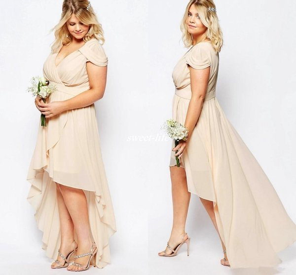 Champagne Nude Chiffon High Low Country Bridesmaid Dresses Plus Size 2018 V  Neck Short Sleeve Junior Maid Of Honor Wedding Guest Dress Camo Bridesmaid  ...