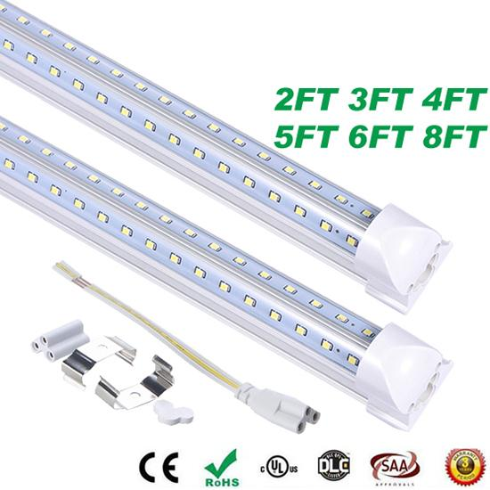 V-Shaped 2ft 3ft 4ft 5ft 6ft Cooler Door Led Tubes T8 Integrated Led Tubes Double Sides Led Lights 85-265V
