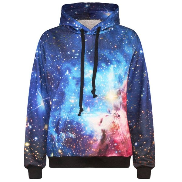 Wholesale-2016 New Fashion Men's 3d sweatshirt space/galaxy print hooded hoodies casual sport tracksuits hoody tops with pockets