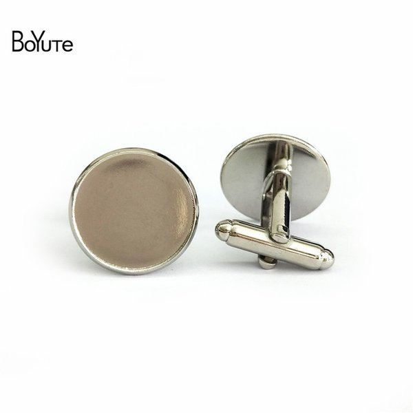 BoYuTe 50 Pcs Round 12 MM 14 MM 16MM 20MM Cabochon Base Metal French Cufflink Blanks Tray Bezel Diy Jewelry Accessories