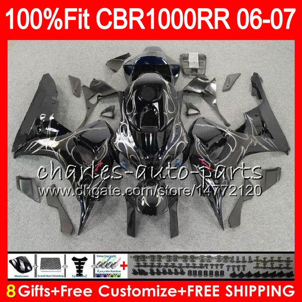 Injection Body For HONDA CBR 1000RR CBR1000 RR 06 07 Bodywork 78HM3 CBR1000RR 06 07 CBR Silver flames 1000 RR 2006 2007 Fairing kit 100% Fit