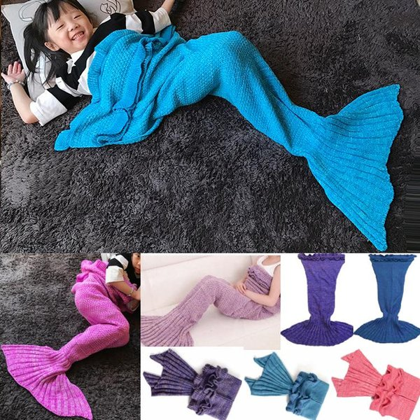 Mermaid Tail Costume Blanket Cosplay Knitted Bed Blanket Sofa Air-conditioned Living Room Watch TV Moive Book Sleeping Bag Gift for Kids