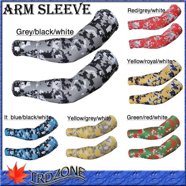 2016 NEW Compression Sports Arm Sleeves Camo Baseball Football Basketball Neon Free DHL