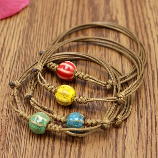 XS Vintage Contracted National Wind Woven Ceramic Beads Bracelet for Women Beautiful Rope Bracelets Wholesale