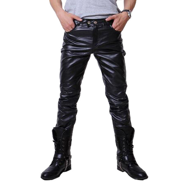 Wholesale-2016 Hip Hop Mens Leather Pants Faux Leather Pu Material 3 Colors Motorcycle Skinny Faux Leather Outdoor Pants