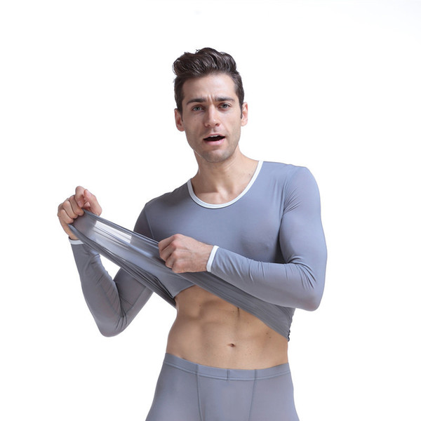 best selling Mens Underwear Long Sleeve Hyperelastic Ultrathin Translucent Slim Autumn Suits Man Underwear Shirts With Pants 2 Pieces