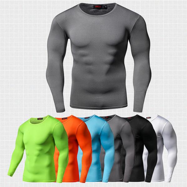Nueva llegada de la camisa de compresión de secado rápido mangas largas camiseta de entrenamiento Ropa de fitness de verano color sólido Bodybuilding gimnasio Crossfit