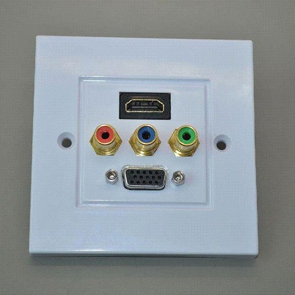 86 panel HDMI + 3 av lotus + VGA panel HDMI socket panel VGA panel 3 rca audio and video wall plug plate