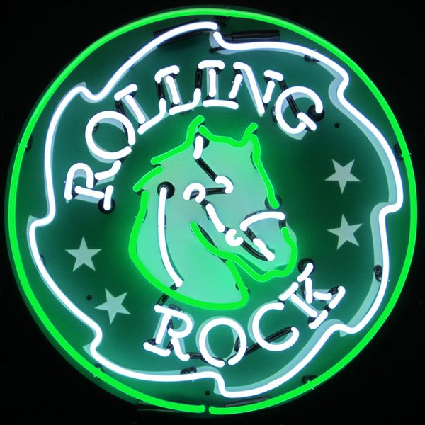 "Rock Rolling Horse Head Neon Sign Real Glass Custom Handmade Beer Bar Store Pub Club Advertising Display Neon Signs With Backing 24""x24"""