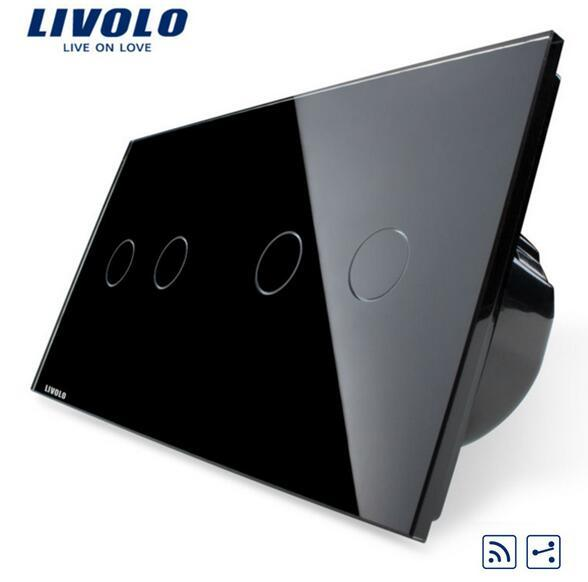 livolo Touch Switch 4-Gang 2-Way Remote touch control, Crystal Glass Panel, home wall light switch, VL-C702SR-12/VL-C702SR-12