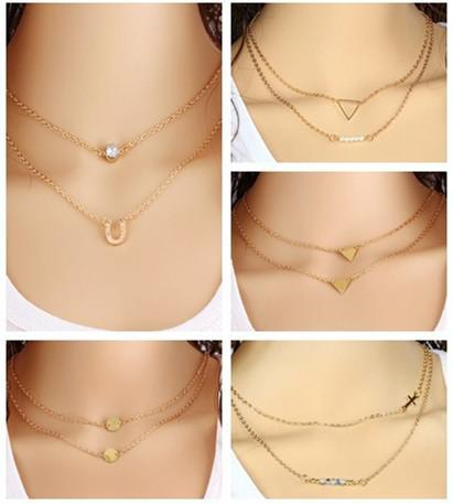 2 layer necklace cross beads pearl pendant Necklace Crystal clavicle chain round Sequins Hollow triangle for Women Jewelry free shipping
