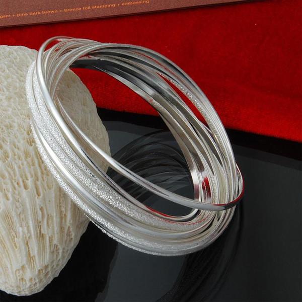 925 Sterling Silver 10 Interlocking Matte & Polished Bangle Bracelet 65mm Diameter