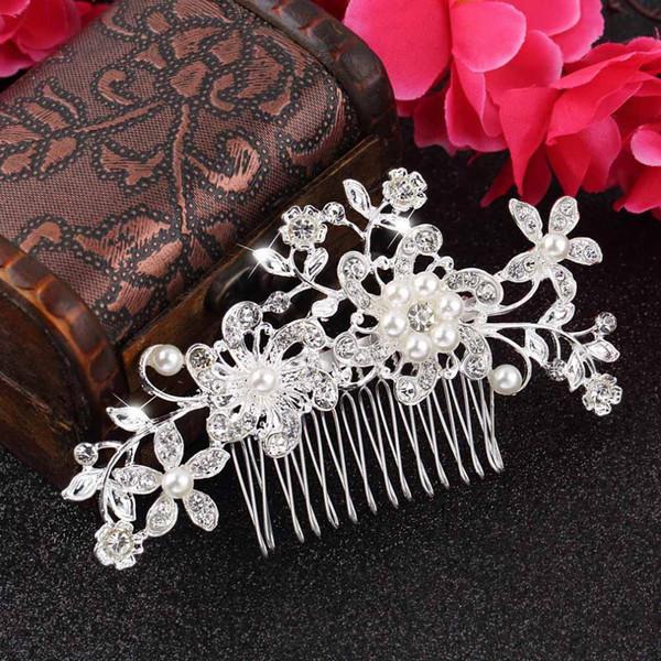 Großhandels-1pc Blumenhochzeits-Tiara-funkelndes Silber überzog Kristall simulierte Perle Brauthaar-Kämme Hairpin-Schmucksache-Haar-Zusätze neu