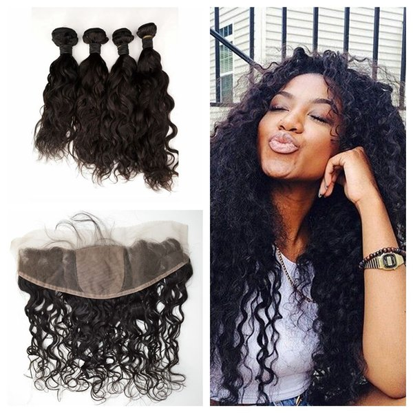 Peruvian Water Wave Human Hair Weave Bundles With Silk Lace Frontal Closure 5pcs Lot LaurieJ Hair
