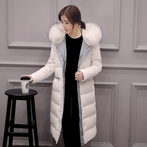 Women Down Coat Jacket Knee Length Woman Down Parka with a Real Fur Collar Thicken Plus Size Winter Coat Women Black White S-XXL