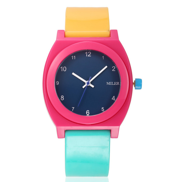 Fashion Miler style Children's Plastic Wristwatches Students Sports Watches Birthday Gift For Kids Girls And Boys Colourful ML37