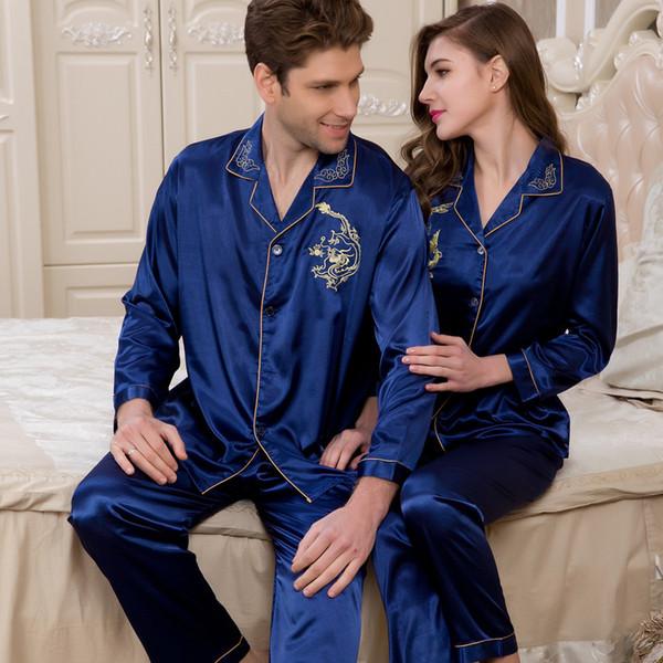 All'ingrosso-2016 uomini pigiama di seta maniche lunghe in raso uomo pigama pijama masculino femminile roupas de dormir adulto coppia matrimonio D40-45