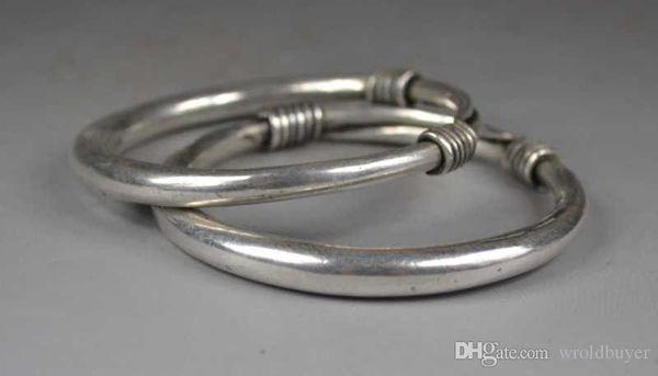 Charme chinois Miao argent pur bracelet paire