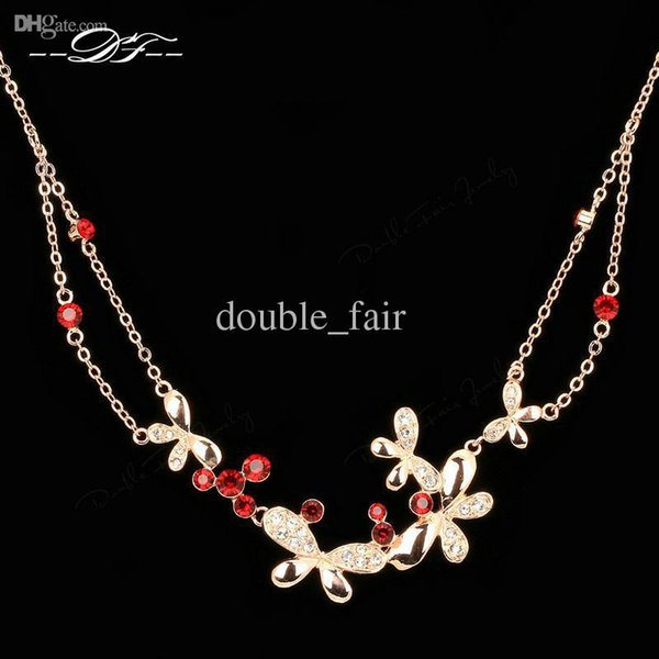 Butterfly Red Crystal Necklaces & Pendants 18K Gold Plated Fashion Brand Wedding Jewelry For Women Chains Accessiories DFN037
