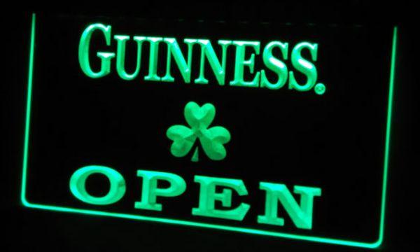 LS452-g Guinness Shamrock OPEN Neon Light Sign