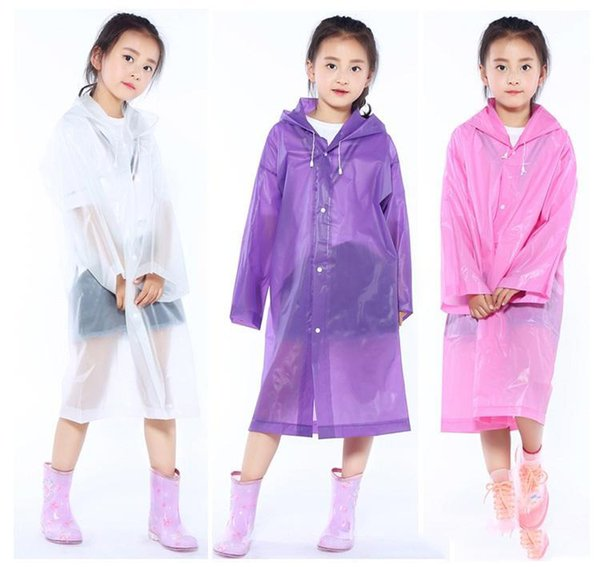 Niños impermeables estudiante transparente chaqueta EVA niños niña capa de la lluvia Poncho impermeable abrigo largo chico ropa de lluvia c217