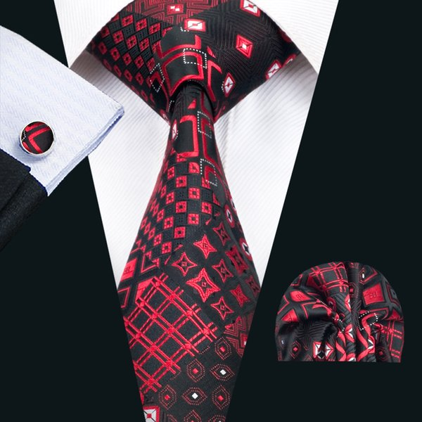 Classic Silk Mens Neck Ties Red Tie Set Newest Men Ties Tie Hanky Cufflinks Set Jacquard Woven Meeting Business Wedding Party Gift N-1417