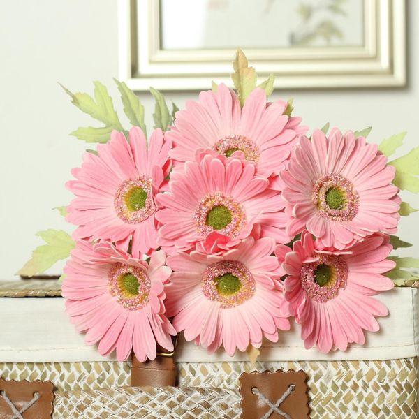 7 Pcs Gerbera Flower Bouquets Daisy Artificial Sunflower For Bridal Bouquet Wedding Home Decor Real Touch