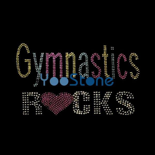 best selling Gymnastics Rocks Rhinestone Transfer Iron On Hot Fix Motif Hotfix Applique
