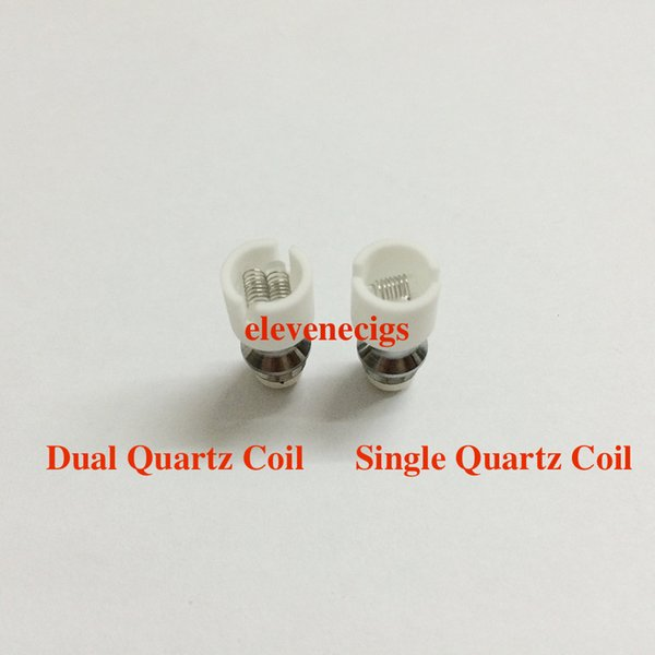 DHL Free Dual Wax Coil For Glass Globe Atomizer pyrex glass tank Single Quartz Coil Dual Quartz Coil For Glass Globe Skull Atomizer