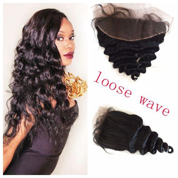 Full Frontal Lace Closure 13x4 Bleached Knots Virgin Peruvian Loose Wave Human Hair Lace Front Closure G-EASY DHL FREE