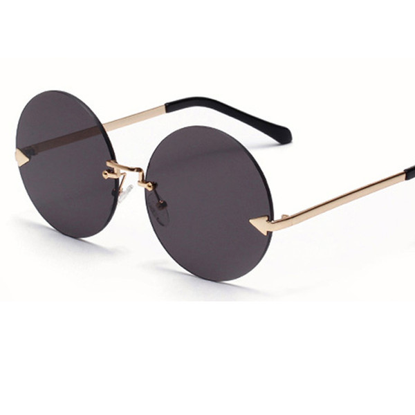 Frameless ocean film sunglasses arrow large size round women fashion sunglasses clear lens Anti-UV400 L19
