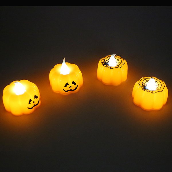 LED Candle Lamp Halloween Pumpkin Shape Witch Spider Web Decor Props Electronic Light Creative Design Craft 2 5zl F R