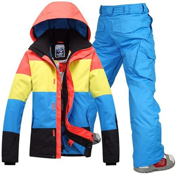 wholesale-2016new mens ski jackets waterproof skiing jacket+warm pants snow clothing outdoor sportwear mens breathable skiing jackets