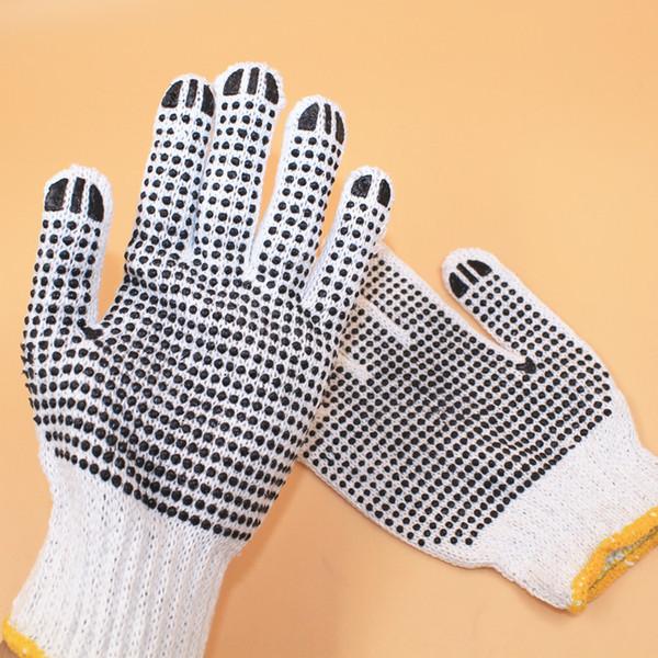 24pairs-resistente ao desgaste luvas de segurança de algodão antiderrapante luvas de trabalho Luvas de segurança resistente ao desgaste anti-derrapante 22cm * 14cm