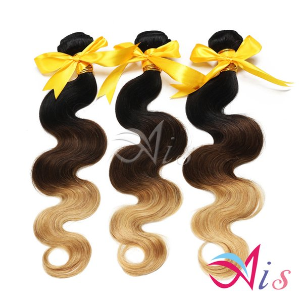 Grade 7A 14-28inches Ombre Hair 3Bundles/lot Body Wave Hair Weaves Machine Made Indian Body Wave Hair Extensions