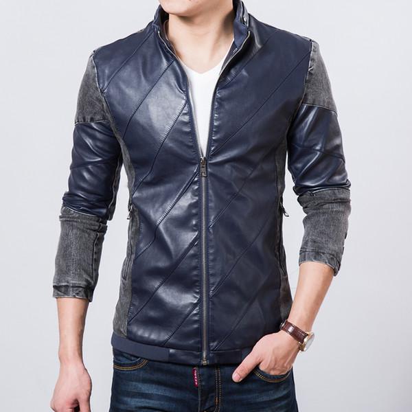 Queda-2016 Oferta Especial Veste Homme Outono Jaqueta Jeans Masculina Splice Pu Jaqueta De Couro Da Motocicleta Masculina Sólida Patchwork Jaqueta Casaco