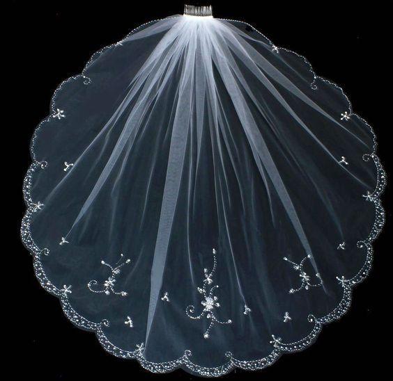 Nuovo arrivo One Layer Fingertip Veli da sposa con perline Cristalli Bordo Cheap Tulle Strass Velo da sposa per la sposa
