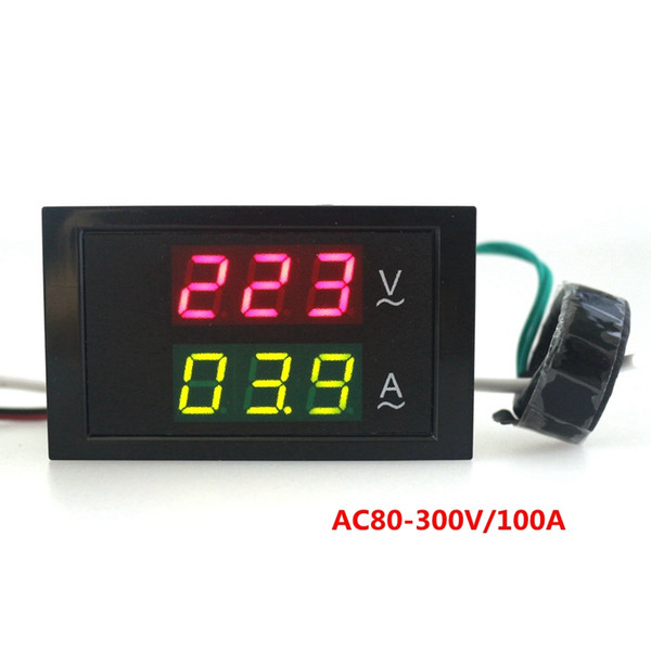Wholesale-AC 80-300V 0-100A voltmeter ammeter Volt Amp Panel Meter voltammeter volt amp meter with Led digital display Free shipping
