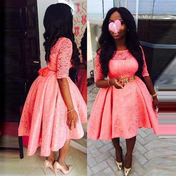 Изготовленный На Заказ Размер Розовый Платье Половина Рукава Старинные Кружева Африки Вечерние Платья Девушки Pageant Платья Выпускные Платья