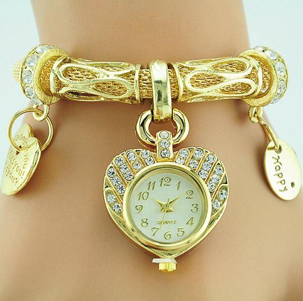 Luxury Gold Shiny Sand Mesh band Women Ladies Watch Heart Love Pendant Gold Bracelet Wristwatch Newest Clock Female Hour Crystal Watc