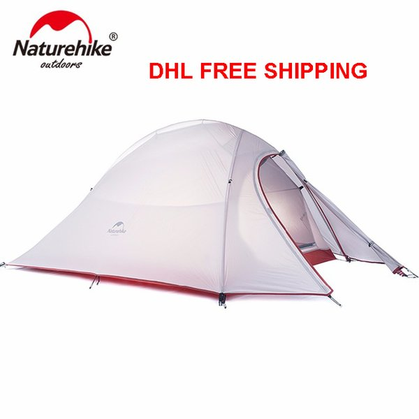 Wholesale- DHL FREESHIPPING 1.2KG Naturehike Tent 20D Silicone Fabric Ultralight 2 Person Double Layers Aluminum Rod Camping Tent 4 Season