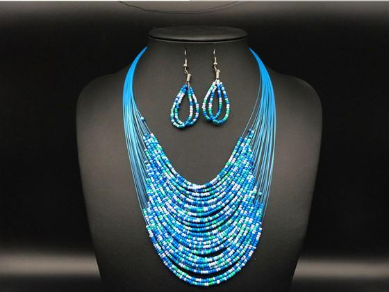 top popular Newest Fashion Vintage Jewelry Sets Joker Bohemian Multilayer Colorful Africa Beads Statement Necklace Earrings Set KX 2021