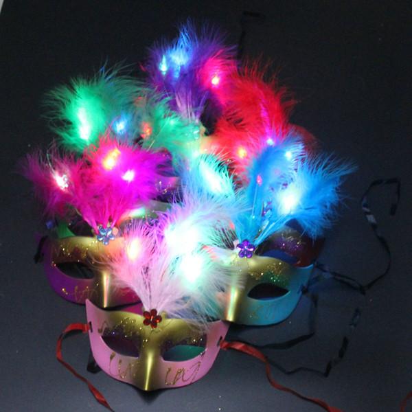Wholesale LED luminous Mask Halloween party makeup dance with light mask luminous feather mask