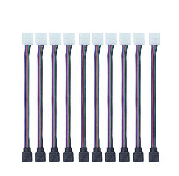 top popular Wholesale-10pcs Lot 4pin 10MM RGB Led Connector Wire Female Connector Cable For 3528  SMD Non-Waterproof RGB Led Strip Light 2021