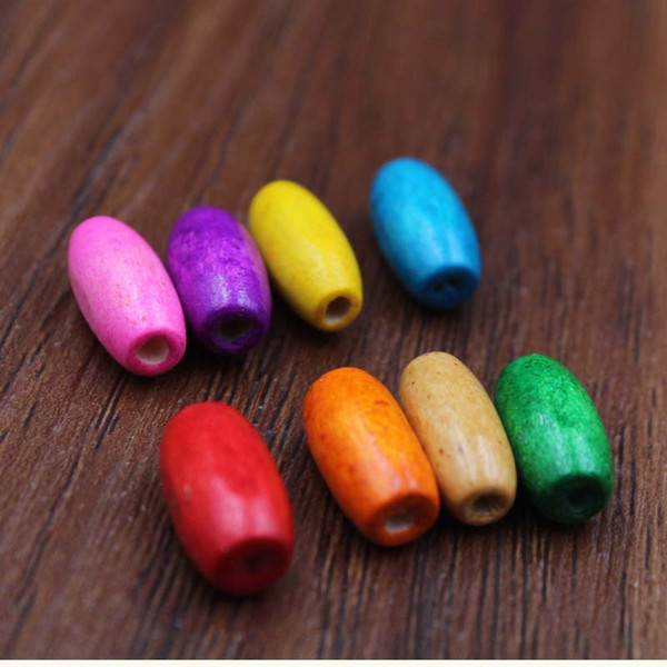 top popular XN118 Fashion New ! 8*15MM Handmade Colored Natural Wood Beads For DIY Fashion Jewelry Making Wholesale 300 pcs lot Wooden Beads Loose Bead 2021