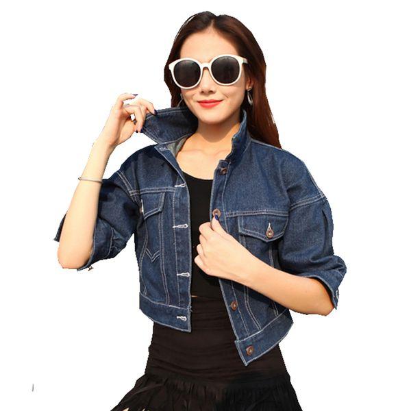 Casuais mulheres design curto letras padrão patch jaqueta jeans Namorado morcego manga casaco para meninas